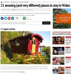 Our Gypsy Caravan listed as No 1 of 21 best quirky places to stay in Wales