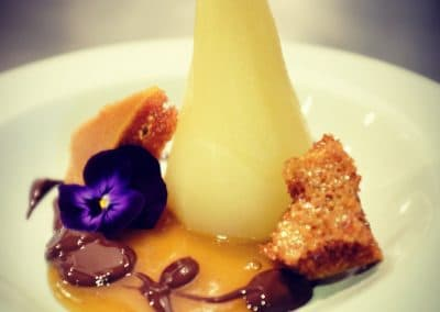 Poached pear with honeycomb