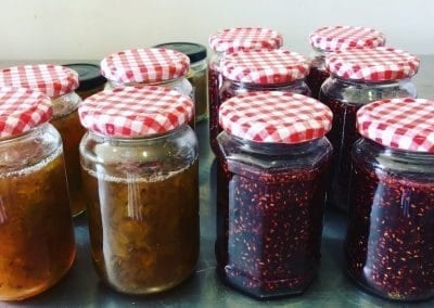 Our raspberry and gooseberry jam